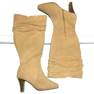 Hot n Hollywood tan suede leather knee high boots